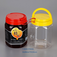 Good Price Clear PET Plastic Hexagonal Honey Jar, Empty Candy Packaging Bottle Jar