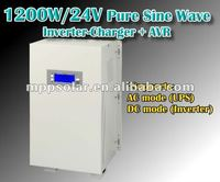 1200w surge 3600w pure sine wave inverter battery charger 24v AVR UPS inverter charger