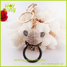 2015 cool gold jaguar keychain with rhinestone