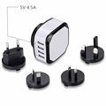EMC,LVD repots 5V 4.5A 4 port USB wall universal travel adaptor charger with Eu UK US Au plugs