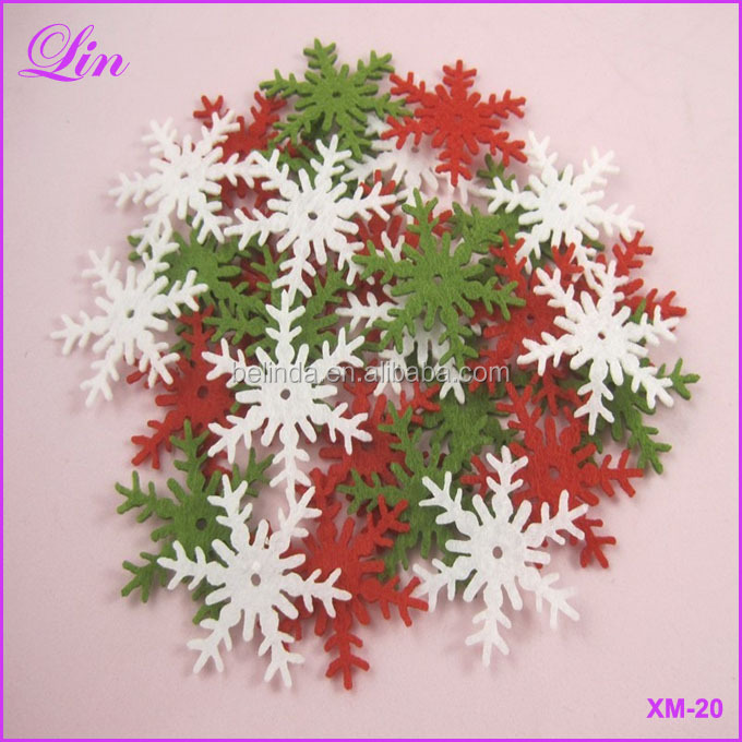 Hang up Christmas assorted snowflake 3cm non-woven motif felt