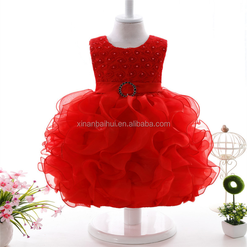 Purple Pearl Girls Princess party Dress high-grade wedding dress baby tutu dress for 1 years old kids girl