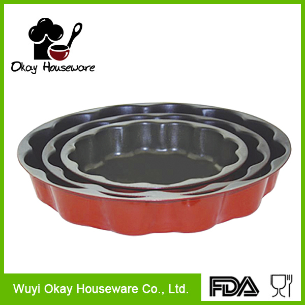 OKAY BK-D6013 Non-Stick Steel Baking Mold Round Fluted Tube Bundt Cake Pan Tin Floral Mould