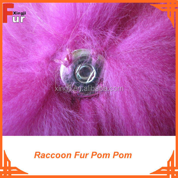 Bright Purple 100% real fur pompom