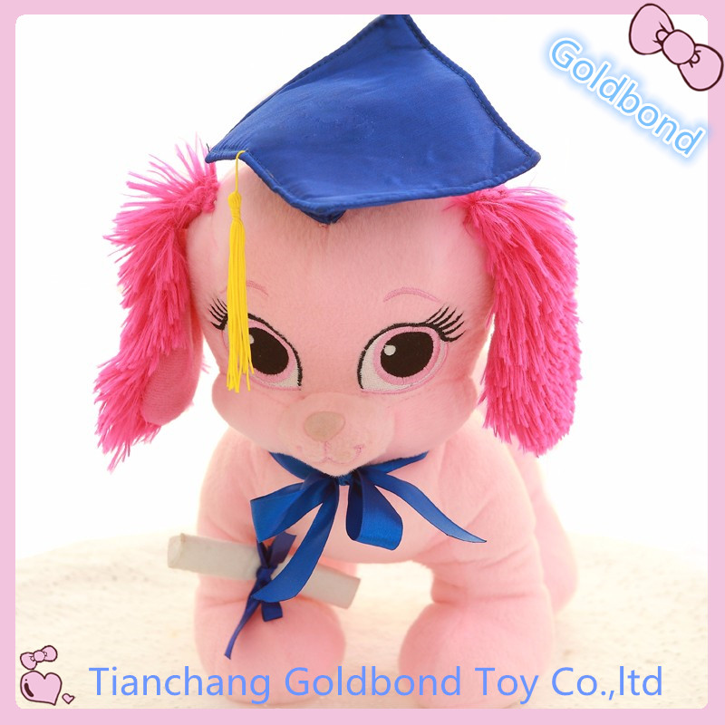 Customized Soft Cute Graduation Gifts Toy Plush Animal Pink Dog Toy