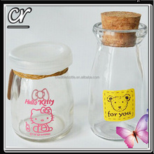 100ml 200ml glass milk/pudding bottle with color printing
