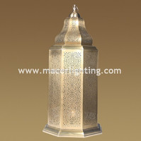 Highly decorative brass floor lamps standing with Arabian style