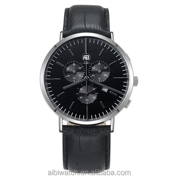 5ATM chronograph watch quartz leather band oem stainless steel case