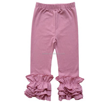 plain vintage pink Color Ready Made Children's long Pants & Trousers, Kids Fall Ruffle Pants