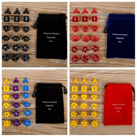 18 pcs polyhedra dice set suit send flannel bag/Dragon and dungeon Dice Set/Millionaire run group dice