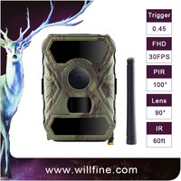 wildlife waterproof hunting camera 100 degree FOV wide lens 940nm black IR LEDs night vision PIR camera