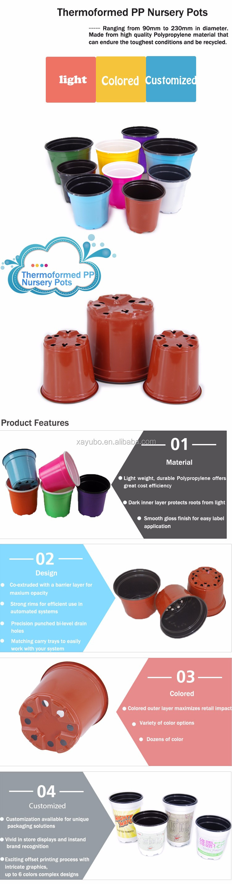 Factory Wholesale Durable Plastic Plant Pots Flexible For Nursery