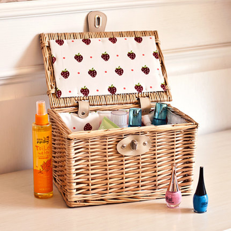 Rectangular natural color wicker storage basket wicker gift basket with lid