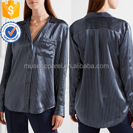 Navy and White Striped Silk Satin Blouse OEM/ODM Women Apparel Wholesaler Garment Clothing Dongguan Guangdong Ropa Mujer