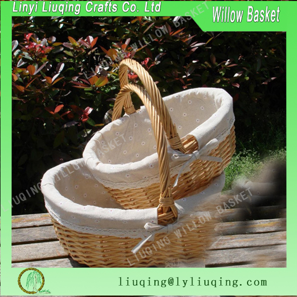 Oval natural color peeled willow bread basket fruit basket table storage basket