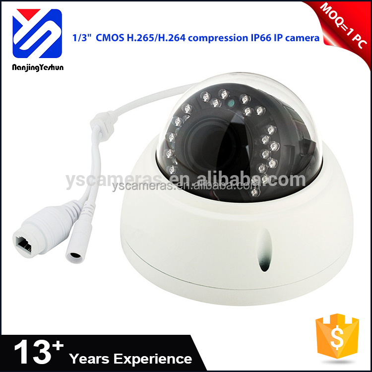 "High quality CMOS Auto(ICR) / Color / B/W 1/3"" CMOS IR LEDs H.265 H.264 dome security camera outdoor CE FCC RoHS IP66"