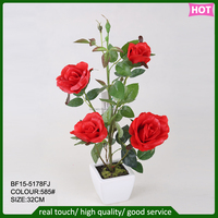fabric artificial rose flower, silk artificial rose flower for home decoration