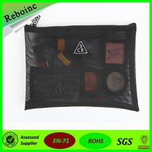 Reboinc-X31Embroidery Logo black nylon mesh cosmetic bag with zipper