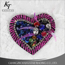 Heart rhinestone patch beaded embroidery applique patches Clothes decorative crystals patch Diy accessories
