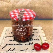 New product of high quality different size cheap glass honey jar with iron lid in stock for wedding table centerpieces