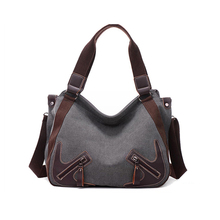 Wholesale stylish pu leather handle women's weekend canvas tote bags handbags