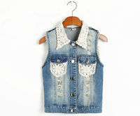 fahsion girls' denim jean vest with grace lace collar,china supplier