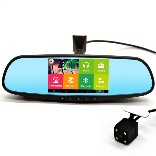 5 inch Special Car DVR GPS Android Rearview mirror Bluetooth Monitor 1080P Dual Lens Camera Video For Anti glare mirror