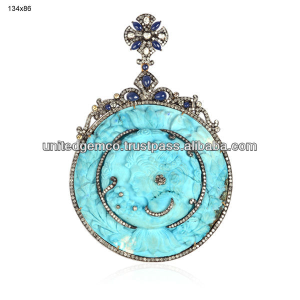 Turquoise Gemstone Designer Themed Cameo Pendants Jewelry
