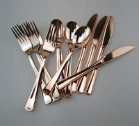 HOT Plastic Rose Gold Cutlery Set - Disposable Metallic Flatware - Plastic Metallic Forks, Spoons,knives Heavy Duty Silverware