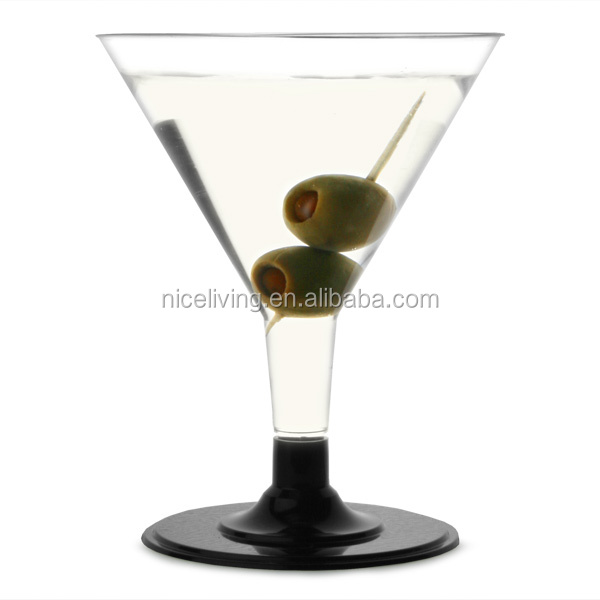 Unique-stem Disposable Martini Glasses Black 5.3oz / 150ml