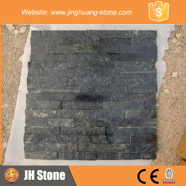Decorative pure black Quartz Slate Stacked Stone