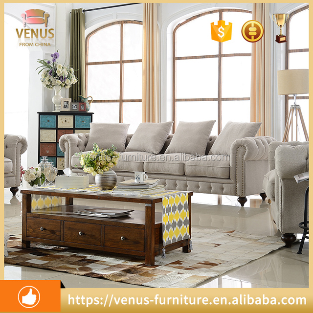 1009# American Style Home Furniture Chesterfield Sofa Set living room button fabric sofa1seat /two seat /three seat