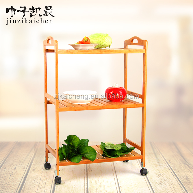 Factory Price Three Layers Bamboo Kitchen Serving Trolley Cart With Wheels