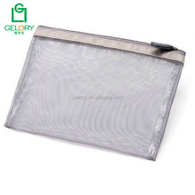 Fashion Nylon Mesh Makeup Bag Ladies Cosmetic Bag Womens Travel Toiletry Pouch Silver Mesh bag