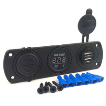 Panel Mount 12V Cigarette Lighter socket + Digital Voltmeter + Dual usb charger 3.1A