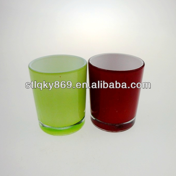 2014 new products color candle holder glass cups home decorative votive tealight glass jar candle holder votive candle cup
