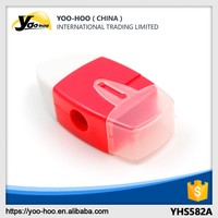 Plastic pencil sharpener with eraser