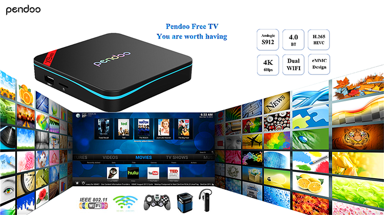 New product 2017 Pendoo X9 Pro S912 2G 16G android 6.0 marshmallow ott tv box OEM AD player smart tv box