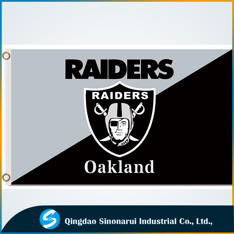 National football Raiders Oakland 3x5ft banners black gray color