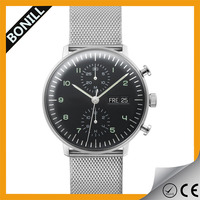 Alibaba express BONILL high quality mens mesh band 361l stainless steel watch chronograph