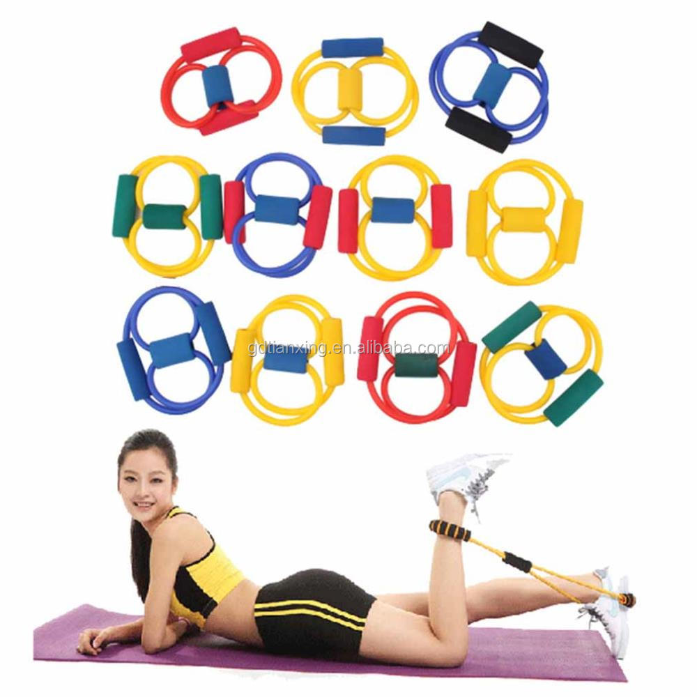 8 Shaped Resistance Latex Elastic Pilate Tube Band for Home Gym Body Fitness