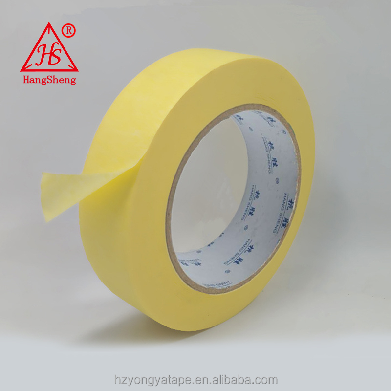 hot sale high recommend good quality strong adhesive stable golden china supplier crepe paper Medium Yellow masking tape