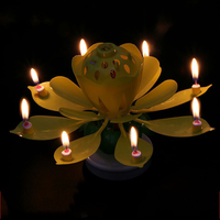 Lotus Form Small Flameless Rotate Music Double Deck Birthday Candle