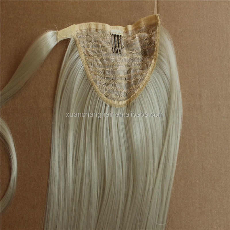 Elegant very popular 6a grade unprocessed virgin brazilian human hair drawstring ponytail