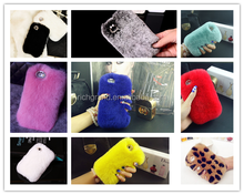 Luxury Bling Crystal Fox Rabbit Fur Case For iPhone 5 5S 6S 6 Plus 7 7 plus