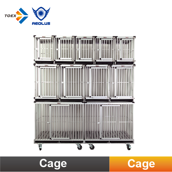 KA-507 Aluminum Collapsible Dog Cage Bank Modular Cages with Waste Tray