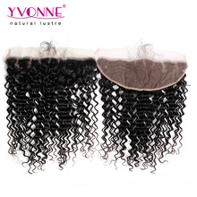 Top Quality High Densirty Brazilian Hair Deep Wave Closure Lace Frontal