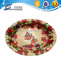 Promotional Top Quality Oval Free Sample Plastic Blue Charger Plates