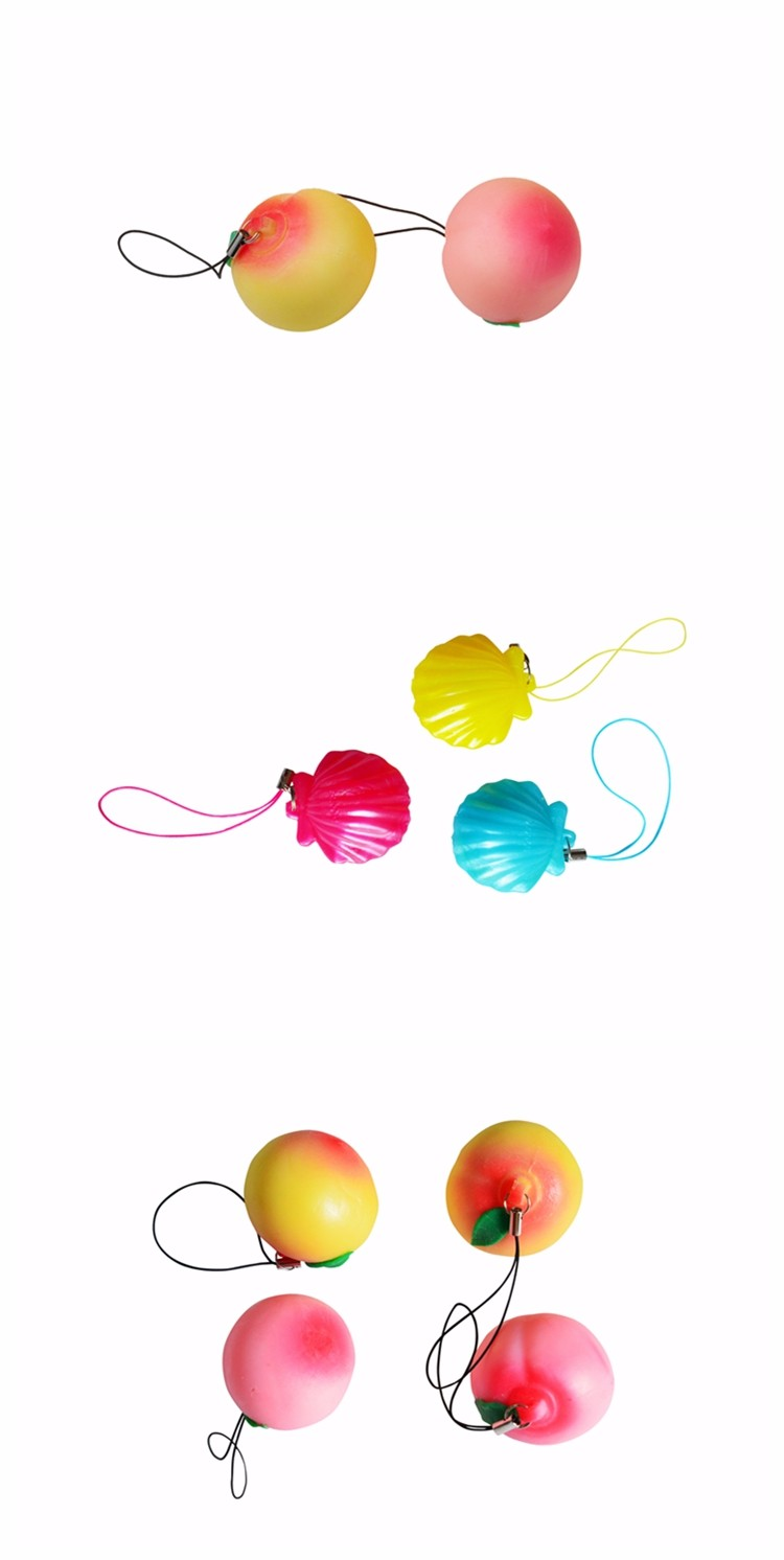 Squeeze Stress Relief Peach Mobile Flashing Strap Toy