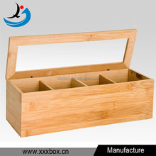 Wooden bamboo tea box 4 sections compartments container bag caddy chest storage